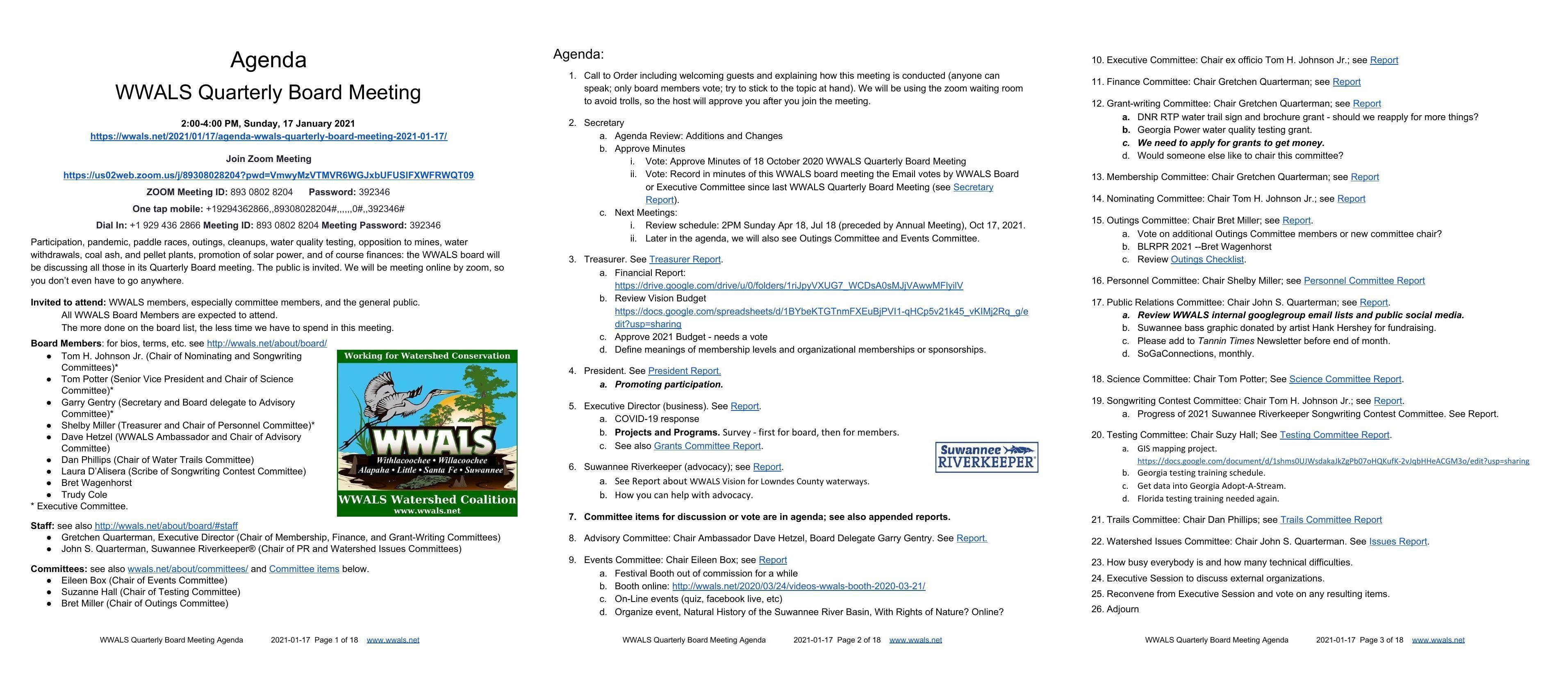 [Three-page agenda]