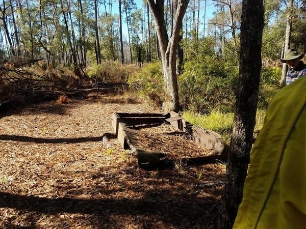 [Photo: John S. Quarterman, of logging camp relic on Billy's Island]