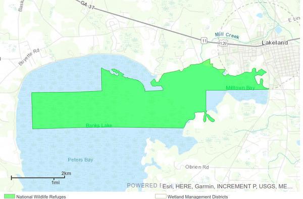 [Map: Banks Lake NWR by U.S. FWS]