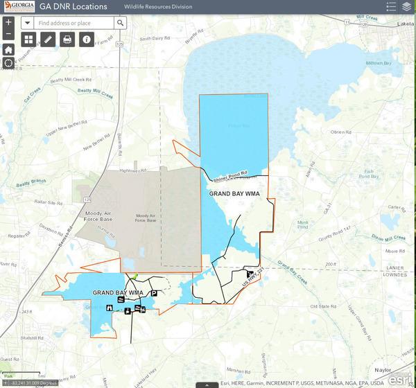 [Map: Grand Bay WMA by GA DNR]