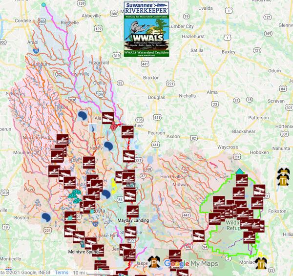[Map: Suwannee River Basin in Georgia]