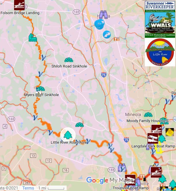 [Map: Folsom Bridge, Little River Road acre, Troupville Boat Ramp]