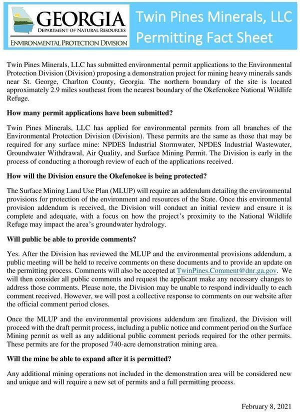 [Twin Pines Minerals LLC Permitting Fact Sheet]