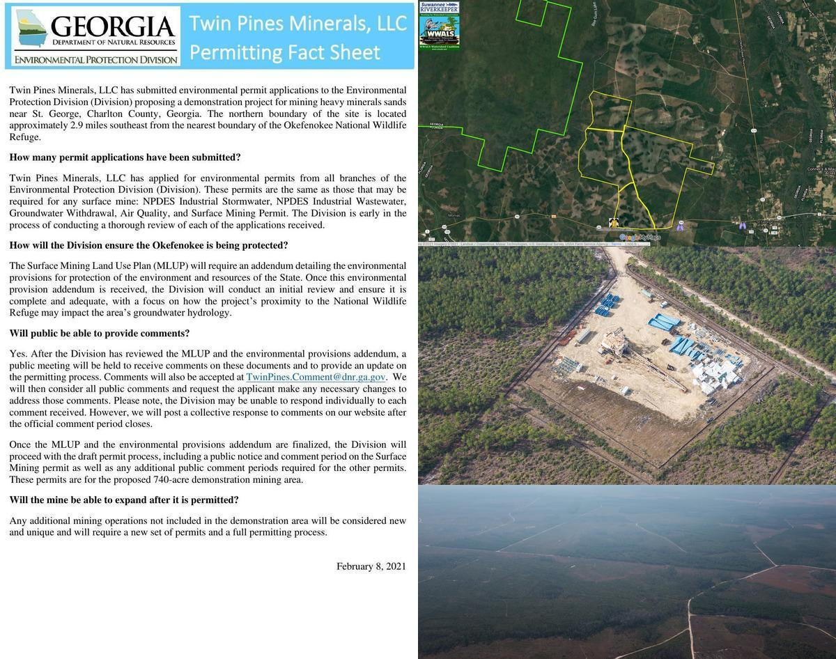 [GA-EPD Fact Sheet, TPM Mine, and Okefenokee NWR]