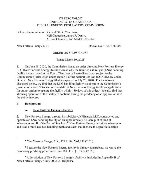 [174 FERC ¶ 61,207 ORDER ON SHOW CAUSE, New Fortress Energy LLC, Docket No. CP20-466-000]