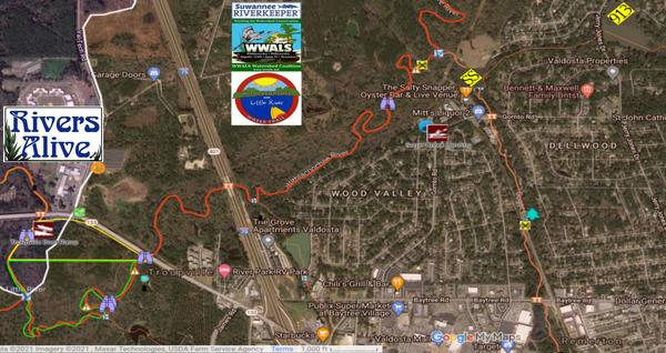 [Map: Joree Millpond, Sugar Creek, Withlacoochee River, Little River, Troupville Boat Ramp]