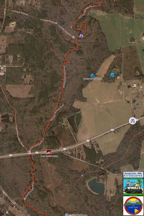 [Map: Boys Ranch, Withlacoochee River, Hagan Bridge Landing @ GA 122]