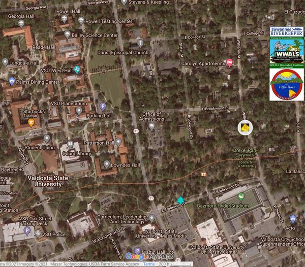 [Map: 1400 Williams Street sewage spill site 2021-04-24]