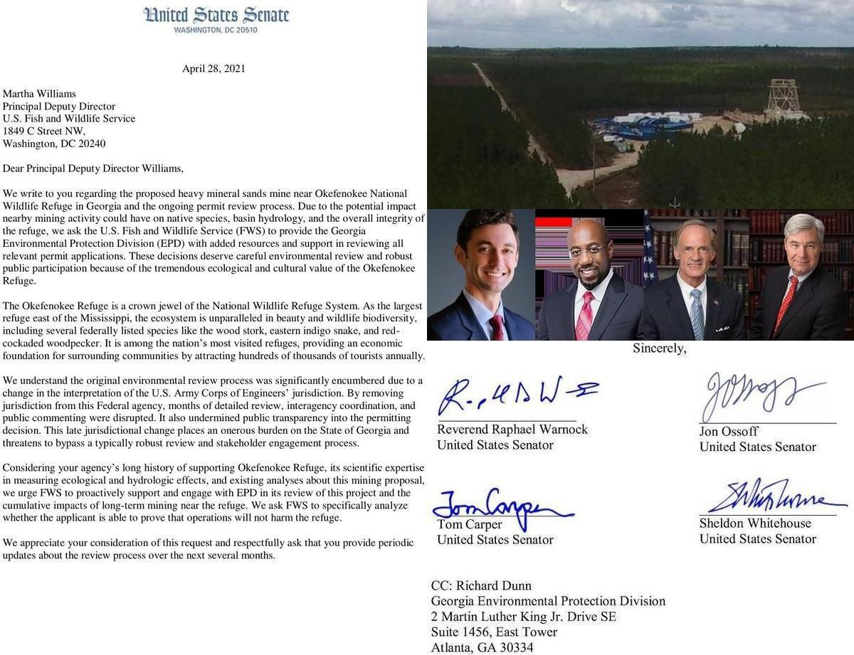 [Letter, Mine site, Senators, Signatures]