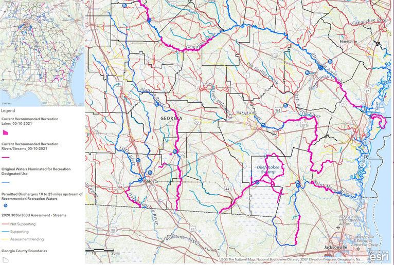 [Candidate Recreational waterways, Georgia, legend, Suwannee River Basin]