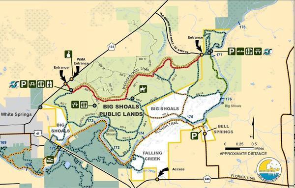 [Map: Big Shoals Tract --SRWMD]