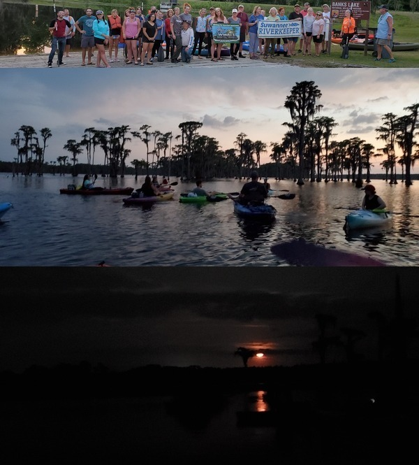 [Banners, paddlers, moonrise]