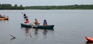 [Three in the Suwannee Riverkeeper canoe]