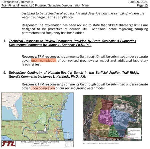 [Upon completion; Okefenokee Swamp, Suwannee and St Marys Rivers; TIAA land still in mining site maps]