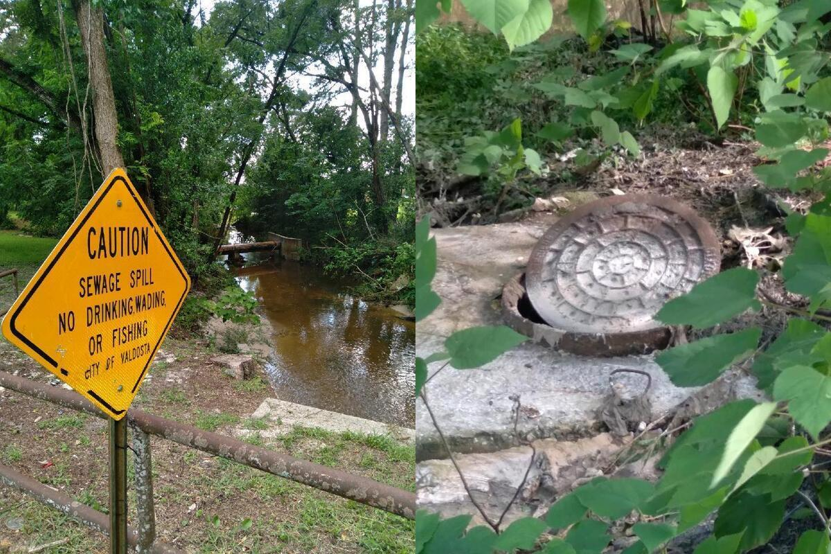 [Caution, Sewage Spill, Manhole ajar, Wainwright Drive, Onemile Branch, Valdosta, GA]