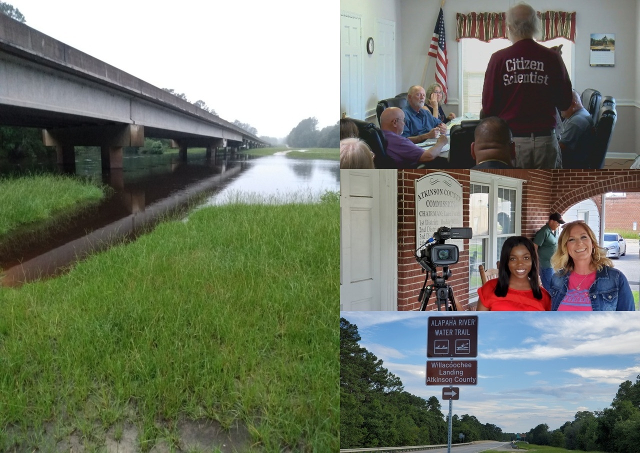 [Willacoochee Landing @ GA 135, Alapaha River Water Trail, Suwannee Riverkeeper at Atkinson County Commission, Reporter Typhani Gray and Tester Valerie Folsom, ARWT road sign]