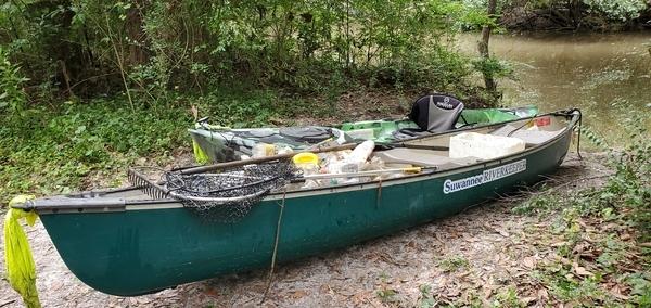[Trash in Suwannee Riverkeeper canoe, 13:35:31, 30.8621260, -83.3183910]