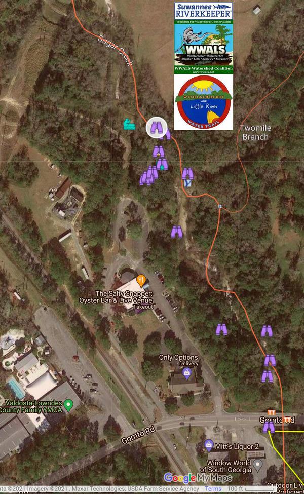 [Map: Gornto Road to Sugar Creek rash Jam]