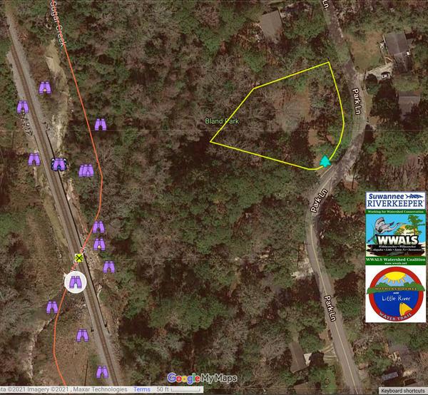 [Map: Sewer Pipe Shoals, NSF RR Bridge, Sugar Creek, Bland Park]