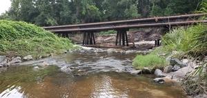 [Downstream, Valdosta Sewer Pipe Shoals, 10:22:21, 30.8519140, -83.3149530]