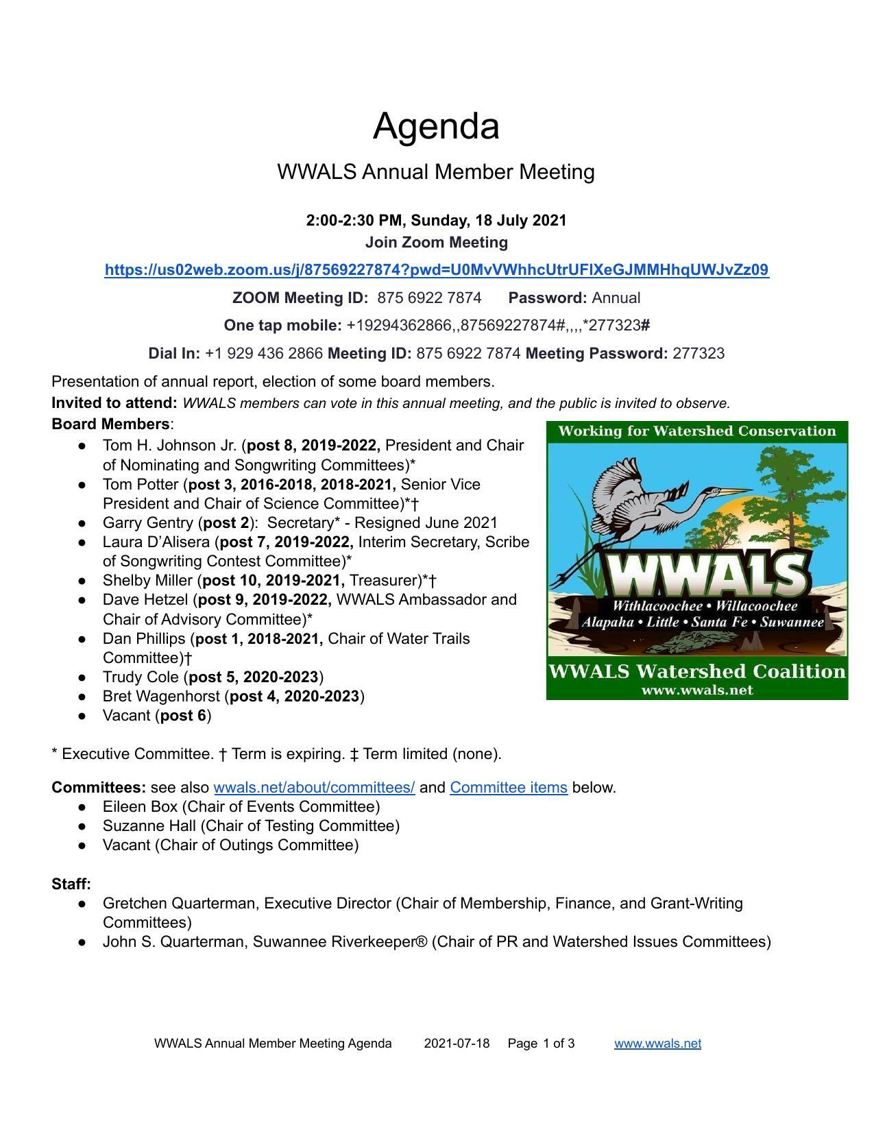 [Who: Annual Member Meeting 2021-07-18]