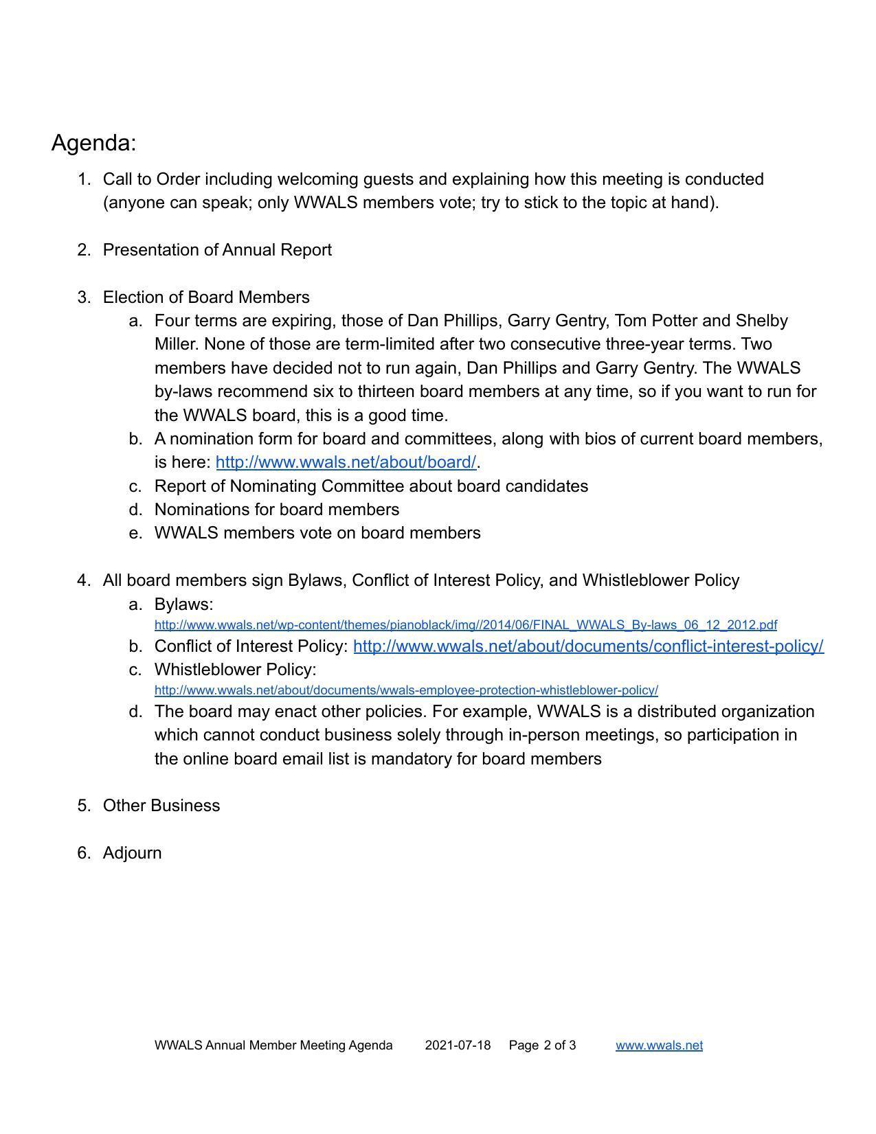 [What: Annual Member Meeting 2021-07-18]