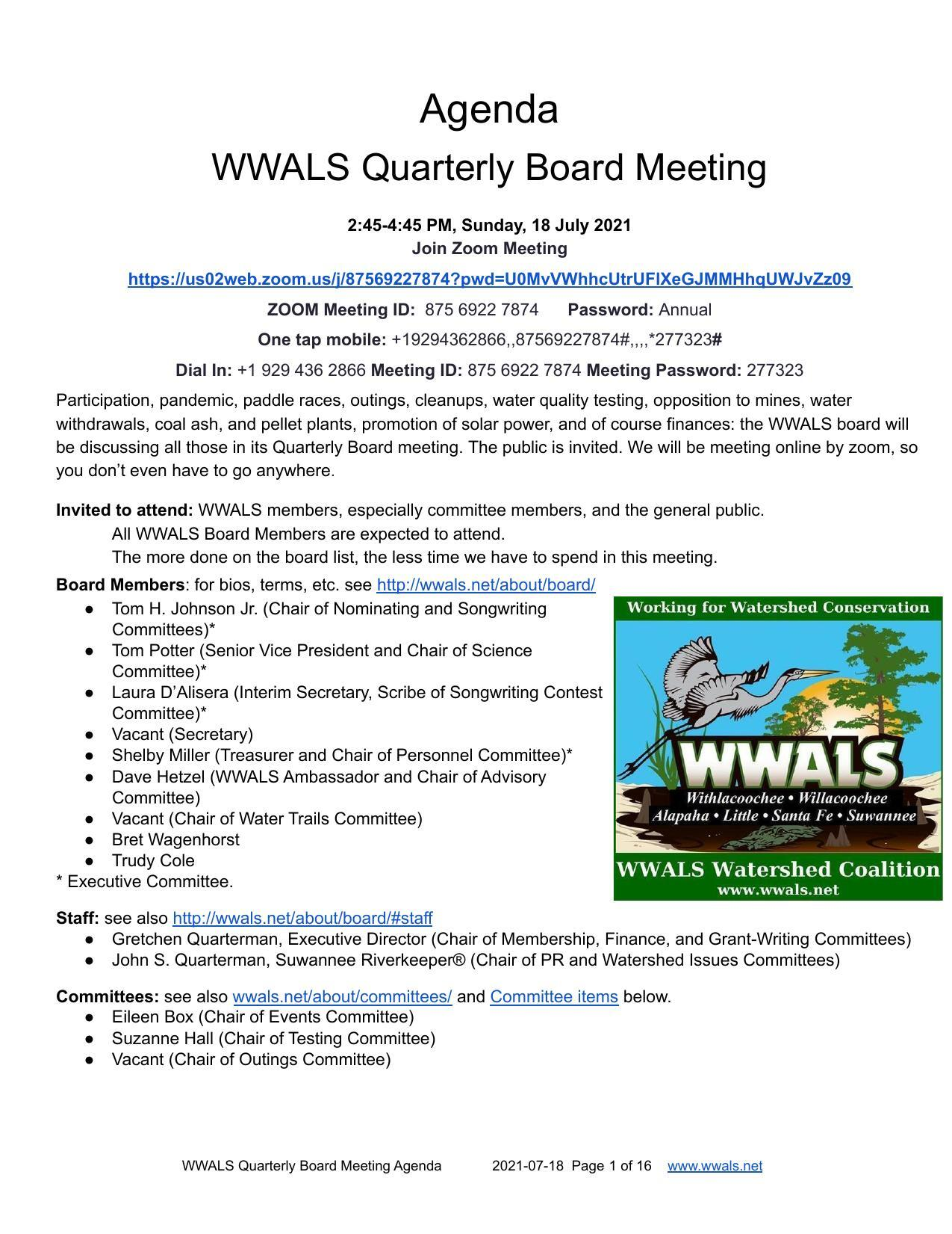 [Who: Quarterly Board Meeting 2021-07-18]