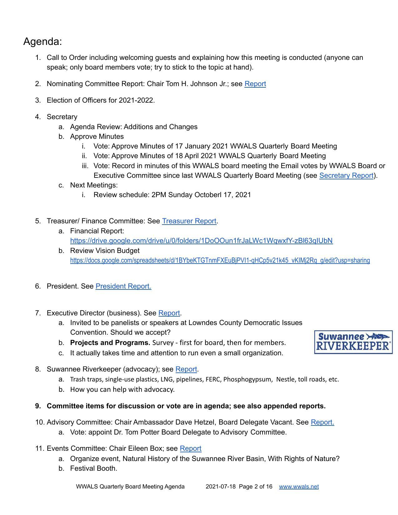 [Election of Officers: Quarterly Board Meeting 2021-07-18]