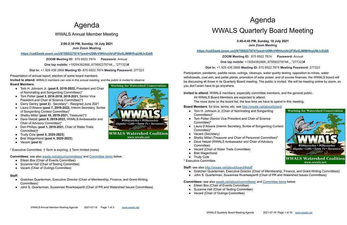 [Agendas, Annual Member Meeting, Quarterly Board Meeting, WWALS]