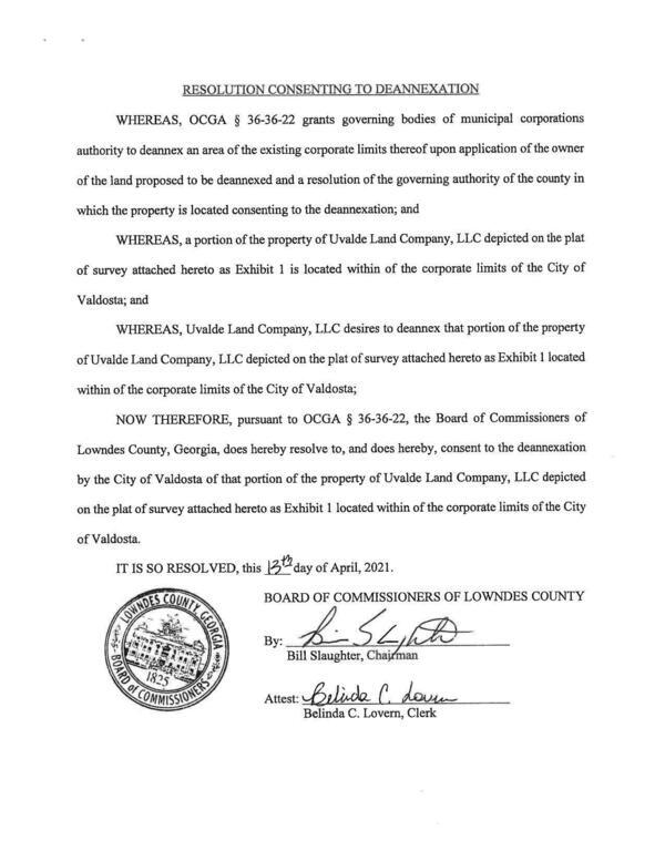 [Resolution Consenting to Deannexation by Lowndes County Commission]