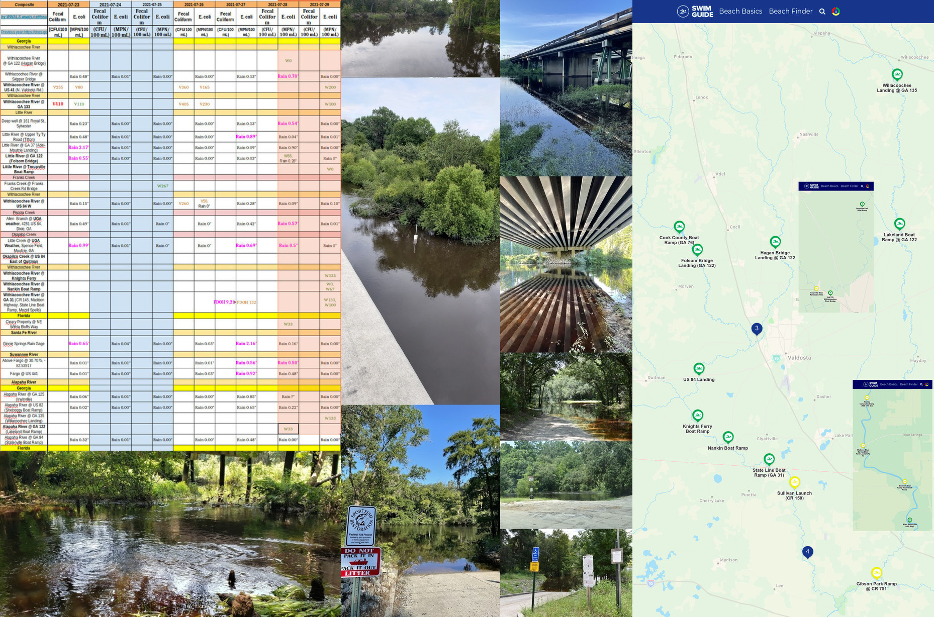 [Chart, Franks Creek, Alapaha River, Little River, Withlacoochee River, Swim Guide]