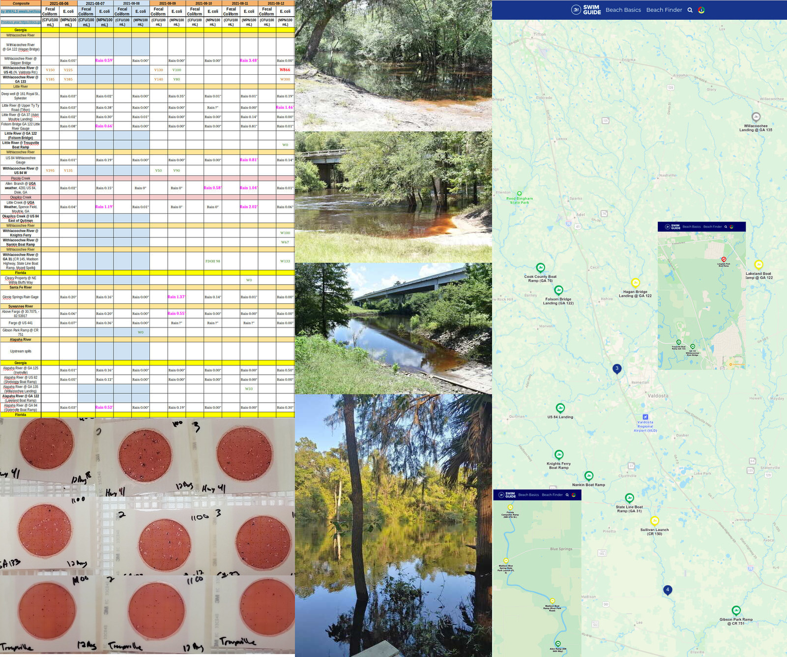 [Chart, upstream plates, Withlacoochee River, Swim Guide 2021-08-12]