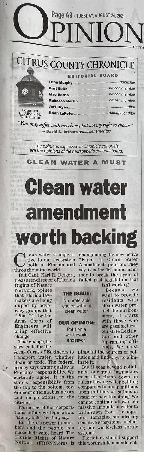 [Clean water amendment worth backing]