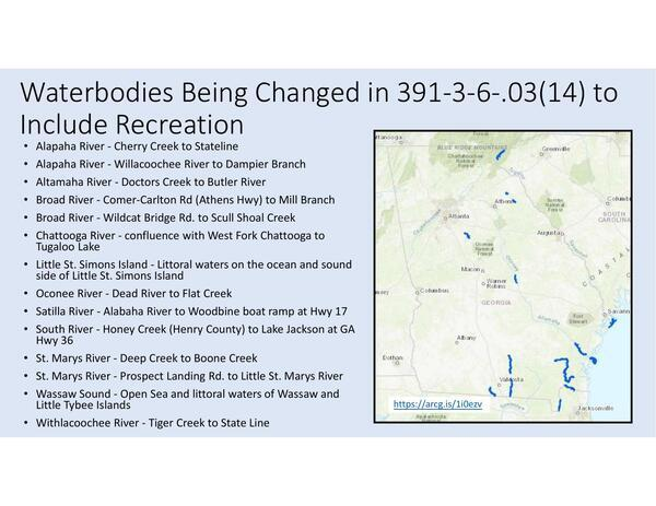 [Waterbodies Being Changed in 391-3-6-.03(14) to Include Recreation]