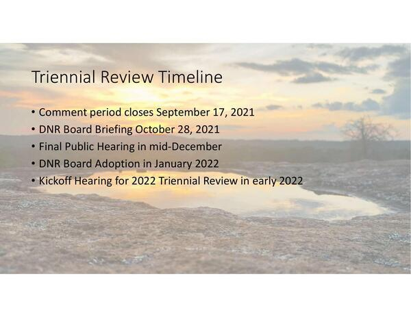 [Triennial Review Timeline]