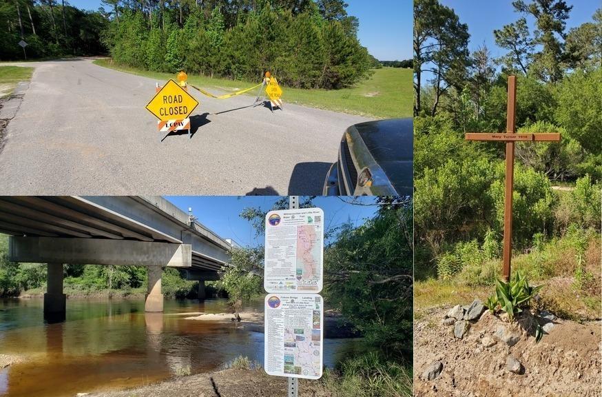 [Wells Road closed, Folsom Bridge Landing, Mary Turner Lynching Site memorial]