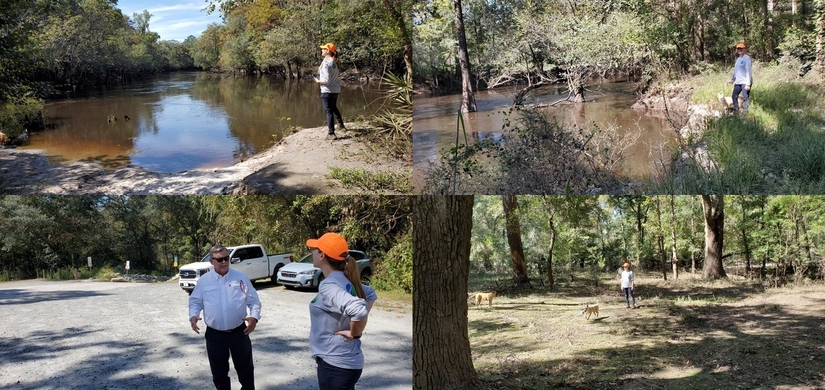 [Little River Confluence, possible landing for Troupville River Camp, Lowndes County Chairman Bill Slaughter and Rachel Mingea of GA-AL Land Trust, Oak clearing at Withlacoochee River]