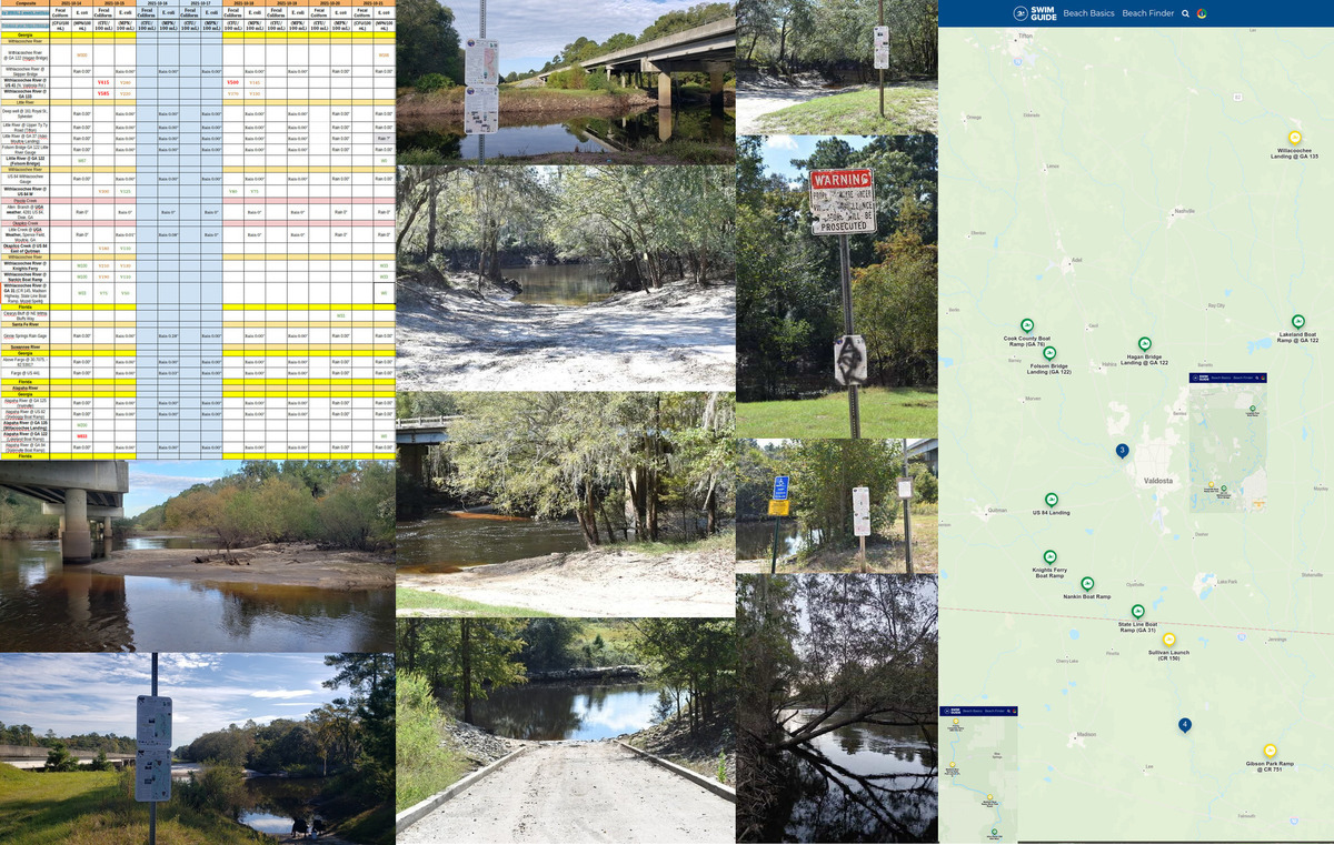 [Chart, Little River, Alapaha River; Withlacoochee River; Map: Swim Guide 2021-10-21]