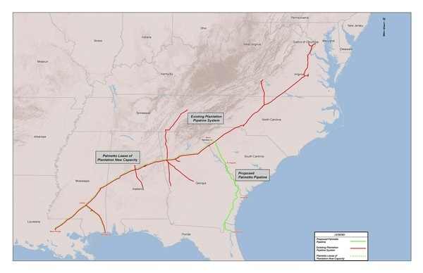 600x388 Map of Palmetto Project and Plantation Pipe Line, in Palmetto Project, by Kinder Morgan, for WWALS.net, 5 March 2015