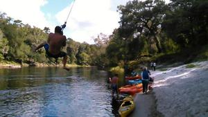 Movie: Rob from South Africa on the rope swing (5.2M) 30.4191723, -83.1344604
