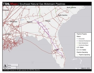 Map of Southeast Mid-Stream Natural Gas Pipelines