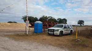 Gilchrist County Sheriff car guarding Sabal Trail HDD site