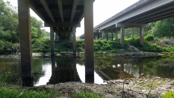 Under US 84 bridge across to Lowndes County