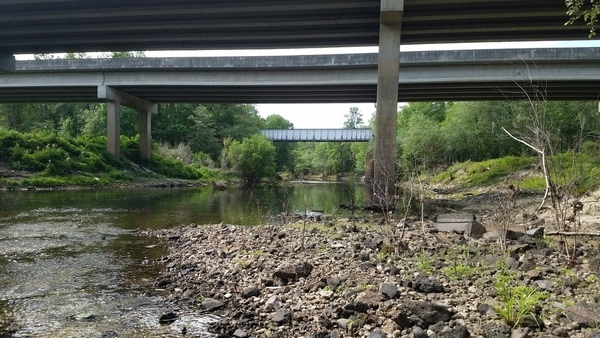 Downstream to US 84 and RR bridges